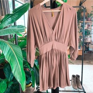 Casual Deep V-neck Cinched Dress